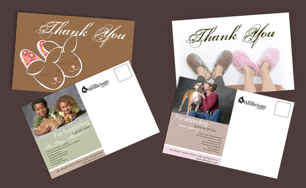 Thank you cards for an event. Done for the San Diego Humane Society as part of AD2