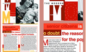 Modern Mom magazine layout and inside spread. About older generation being more active andhaving children